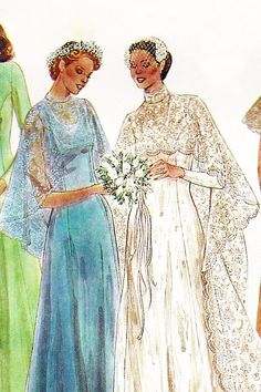 "1970s wedding dress pattern - McCalls 6895  - 70s wedding dress with cape train & bridesmaids evening dress - bust 36"" size 14 - uncut - ff"
