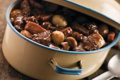 Nigel Brown's slow cooked beef bourguignon recipe is perfect for a chilly winter's day Crock Pot Recipes, Beef Recipes, Cooking Recipes, Beef Bourguignon, Beef Burgundy Recipe, Greek Dinners, Steak And Mushrooms, Slow Cooked Beef, Atkins Recipes