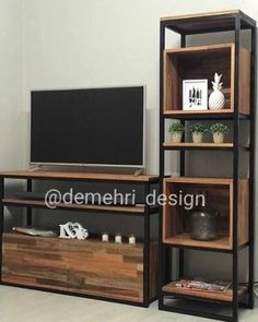 Rack Tv Mesa Estilo Industrial Hierro Y Madera + 1 Columna - Iron Furniture, Steel Furniture, Home Decor Furniture, Living Room Furniture, Living Room Decor, Furniture Design, Furniture Sale, Rack Tv, Deco Design