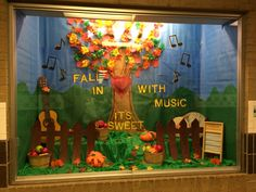 Fall in love with music. Bulletin broad for school windows.
