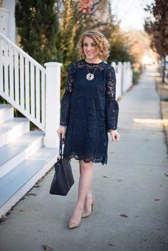 Navy Lace Dress - Something Delightful Blog