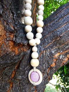 Teething Necklace, Nursing Necklace, Breastfeeding Necklace, Natural Unfinished Wood Beads, Purple, Beige, White Crochet Beads & Wood Ring