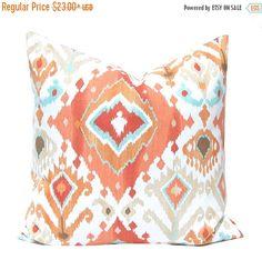 SALE Euro Sham, Orange Pillow, Throw Pillow Cover, Pillow Cover, Orange Ikat Pillow, Decorative Pillow Cover Coral Cushion Cover Ikat Pillow