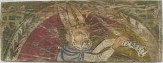 • TAVOLA XIV ter cm 44,5 x 16,5 x 2 SANTO VESCOVO SCRIVENTE Legno del retro in buone condizioni, privo di fori di tarlo; la pellicola pittorica è molto danneggiata e fragile ed è stesa su molte imperfezioni del supporto. Figura di santo vescovo con la mitria, frontale, nimbato, raggiante, rivolto verso destra e scrivente con una penna d'oca su un lungo cartiglio ricoperto da segni di pseudoscrittura. Questa striscia di carta sembra essere appoggiata su una roccia, e questo particolare fa…