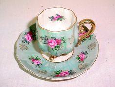 Vintage Luster Royal Halsey China Footed Demitasse tea Cup Saucer
