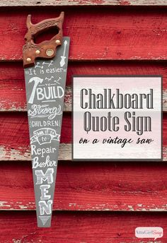 Father's Day Chalk Art from a Vintage Hand Saw Is your dad handy and hands on? Then he will absolutely love this DIY chalk art made from a vintage hand saw. The quote is from Frederick Douglass, and it's perfect for Father's Day. Crafts For Teens To Make, Crafts To Sell, Diy And Crafts, Upcycled Crafts, Easy Crafts, Fathers Day Crafts, Gifts For Father, Handmade Father's Day Gifts, Diy Gifts