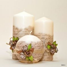 Decoupage candle: photos) master classes with ideas of holiday décor - Part 6 Homemade Candles, Diy Candles, Scented Candles, Pillar Candles, Candle Decorations, Beeswax Candles, Candle In The Dark, Candle Making Business, Candle Art