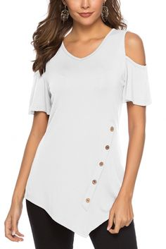 White Solid Hollow Out Round Neck Cold Shoulder Short Sleeve Regular Blouse Summer Cold Shoulder Bluse, Short Sleeve Button Up, Short Sleeves, Blouse Online, Wholesale Clothing, Casual Wear, Casual Pants, Snug Fit, Trendy Fashion
