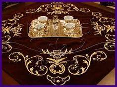Embroidered table cloth.  'Goldwork' (Maraş işi)on velvet.  Ca. 1900.
