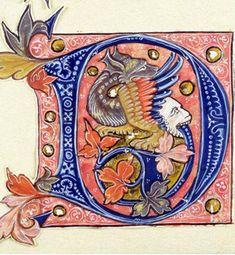 Medieval Letter Illustration, 14th century?, Musee Marmottan Monet, Paris, France: The Bridgeman Art Library