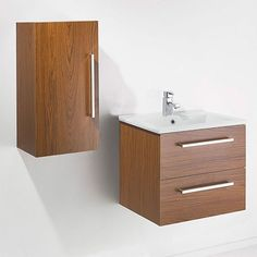 MILO 600mm Wall Hung Walnut Basin Vanity Unit + Side Cabinet