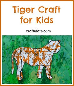 Tiger Craft for Kids This tiger craft uses marbles and paint to create the tiger's stripes. A great craft to go alongside The Tiger Who Came To Tea book. Jungle Activities, Jungle Crafts, Zoo Crafts, Tiger Crafts, Jungle Art, Animal Activities, Jungle Theme, Jungle Animals, Multicultural Activities