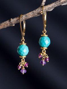 Harmony Scott Jewelry Design - Sarasvati Cluster Earrings   Turquoise, Garnet, Amethyst