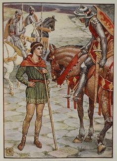 Young Percival Questions Sir Owen, from 'Stories of the Knights of the Round Table' by Henry Gilbert, first edition, 1911 by Walter Crane