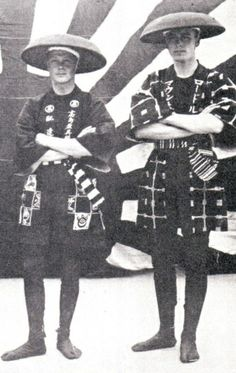 """Japanese Coolies - the Prince of Wales and cousin Louis """"Dickie"""" Mountbatten in  fancy dress, 1921"""