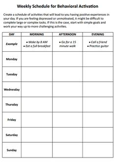 Weekly Schedule for Behavioral Activation Preview