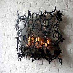 Fabulous Gothic Wall Fire Pit With Wrought Iron Design