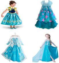 Bebê meninas vestido de verão 2015 princesa Anna Elsa vestido Cosplay filme menina vestido Vestidos crianças roupas traje para crianças(China (Mainland))
