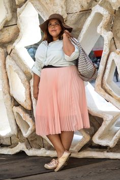 Plus blogger Darlene #OOTD from Fashion To Figure. Click to shop her look. Details: Makena Pleated Midi Skirt $28.50 and Cameron Denim Shirt $28.50