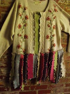 Plus Size Razzle Dazzle, Sweater Patched, Multi Color, Embroidered, Recycled, Upcycled Sweater Scrap Tunic. $125.00, via Etsy.