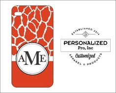 Red Giraffe Cell Phone Case Design w/Monogram by PersonalizedPro