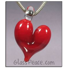 SALE Red Glass Heart Pendant boro lampwork focal by Glass Peace $10.00