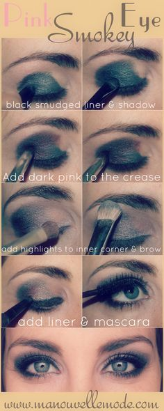 Pink Smokey Eye- want to try, I just have to get the right eye makeup for it..