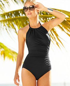 Badgley Mischka Ruched High-Neck One-Piece Swimsuit - Swimwear - Women - Macy's