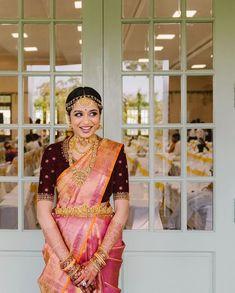Blouse Neck Models, South Indian Bride Hairstyle, Indian Accessories, South Indian Sarees, Soft Silk Sarees, Drape Sarees, Indian Bridal Fashion, Saree Wedding, Bridal Sarees