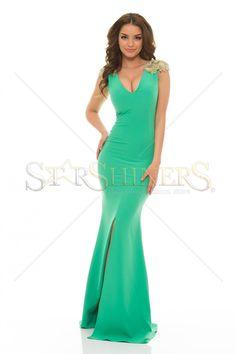 LaDonna Classy Shoulders Green Dress