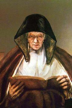 Old woman, reading. Rembrandt Harmenszoon van Rijn (15 July 1606 – 4 October 1669)