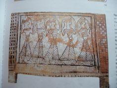 Sarcophage de Tanagras, 1m, terre cuite peinte, 1300-1250, Musée archéo de Thèbes.