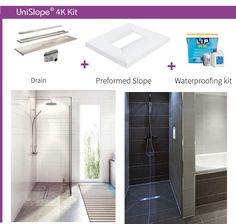 If you are looking for a wet room shower with a central linear drain, the Unislope 4k is the kit for you.