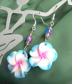 Hot pink blue and white polymer clay earrings by MarquisCreations, $11.99