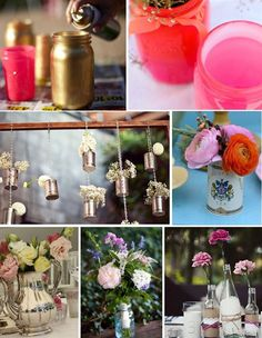 Flowers...like simplicity of single flowers in glass bottles - cute glass bottle decorations