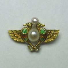 Laura's lifeintheknife on Ruby Lane: Antique Art Nouveau 14K Gold Enamel Seed Pearl Egyptian Stick Pin