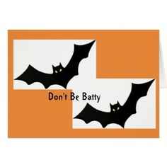 Halloween Card Bats Black Orange Humorous October - red gifts color style cyo diy personalize unique