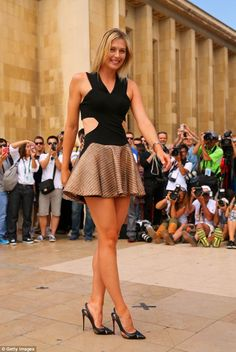 Enviable assets: The tennis player looked stunning in a dress that showed off her incredible long, toned legs
