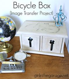 Bicycle Box {Makeover with Chalk Paint and an Image Transfer} - girlinthegarage.net