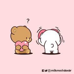 Cute Bear Drawings, Chibi Cat, Cute Love Gif, Cute Pikachu, Cute Bears, Cute Images, Comic Strips, Happy Valentines Day, Mocha