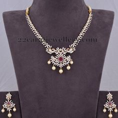 Jewellery Designs: 8 Lakhs Worth Diamond Set and Earrings