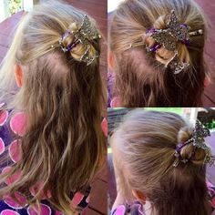 Girls love pretty hair things! Here's a beautiful filagree butterfly flexi clip with purple beads and a lovely dangling charm, sure to become a favorite accessory for great hairstyles!