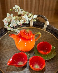 Poppy Welsh Collection Tea Service by Mustardseed & Moonshine ~~ The poppy flower has no scent and secretes no nectar, but it spends it's pollen lavishly and from the first morning of bloom poppies are plundered by bees.