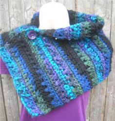 Crocheted Velvet Twilight Buttoned Cowl in Purple, Blue, and Black - Made to Order by SueStitches, $50.00 USD