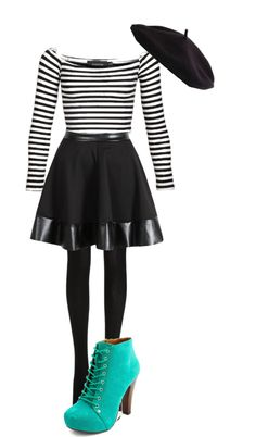 """""""French Mime"""" by zombieloveabc ❤ liked on Polyvore"""