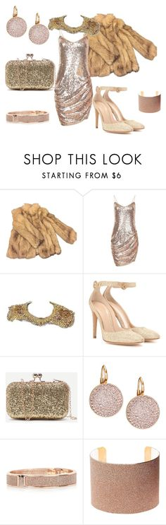 """""""gold glitter"""" by mimmiandkinkistatementjewelry ❤ liked on Polyvore featuring Topshop, Gianvito Rossi, Swarovski, River Island and Charlotte Russe"""