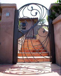 Swirling Water Entry Gate by David Browne Garden Gates And Fencing, Garden Doors, Fences, Metal Gates, Wrought Iron Doors, Door Design, House Design, Iron Gate Design, Custom Gates
