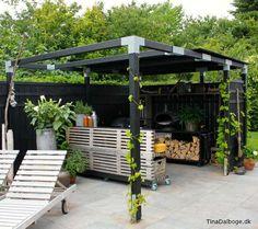 Update på min terrasse med udekøkken bygget op af traller