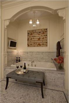 Romantic bath by Michael Abrams Corbels, panel molding, crown molding....