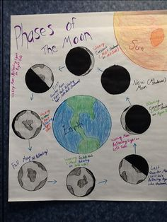 Phases of the Moon Anchor Chart for Fifth Grade Science